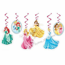 DISNEY PRINCESS HANGING DECORATION 6PK BIRTHDAY PARTY SWIRLS FOIL SWIRLING CEILI