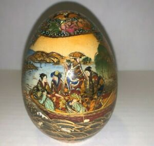 """Vintage Chinese Satsuma Hand Painted Gilded Geisha Porcelain Egg 5"""" Pre-owned"""
