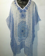 Top Fits XL 1X 2X 3X 4X 5X Plus Blue Sheer Caftan Sequins V Neck Tunic NWT 4037