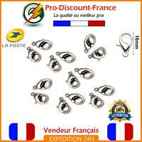 Lot Fermoir Mousqueton 16mm Argenté Lot de 1,3,10 ou 20 Bijoux Bracelet Collier