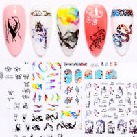 3D Nail Stickers Snake Ribbon  Flower Pattern Nail Art Decoration Tips Decals