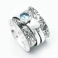 Solid 925 Sterling Silver Band Spinner Ring Jewelry Blue Topaz All Size DO-205