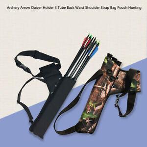 Hot Archery Arrow Quiver Holder 3 Tube Back Waist Shoulder Strap Bag Pouch /Hunt