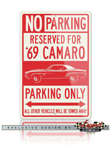Chevrolet Camaro Coupe 1st Generation Reserved Parking Only 12x18 Aluminum Sign