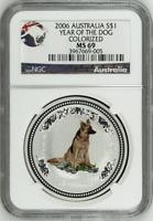 2006 NGC MS69 Australia 1 Oz Silver Lunar Colorized Dog $1 Coin Bullion