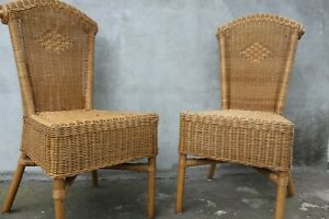 2PC Outdoor Rattan Wicker Patio Furniture Dining Chairs Cushions