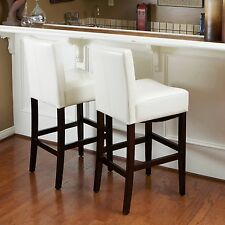 Set of 2 Ivory White Leather Bar Counter Height Stool Wood Frame Padded Chair 30