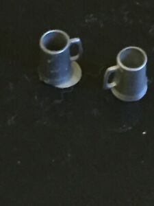 Vintage Miniature Dollhouse Decorative Metal Mugs Lot 2