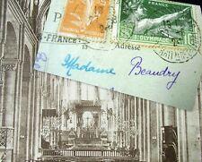 OLD PPC: BESANÇON~INTERIEUR CATHÉDRALE SAINT-JEAN~ca. 1924 + OLYMPIADE STAMP