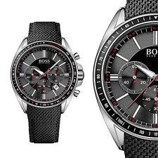 Hugo Boss Black Driver Sport 1513087 Schwarz Edelstahl Herrenuhr Leder Armbanduh
