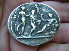 ANTIQUE VINTAGE STERLING SILVER MINIATURE BOX W NUDE GREEK OR ROMAN MOTIFS