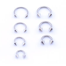 Surgical Steel Horseshoe Bar - Lip Nose Septum Ear Ring Various Sizes WITH CONES