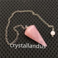 Natural Rose Quartz Crystal Pendulum Healing Dowsing Chakra Chain Reiki Pendant