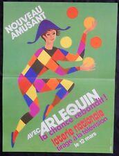 """n°92* Affiche LOTERIE NATIONALE / """"AVEC ARLEQUIN LA CHANCE REBONDIT"""""""