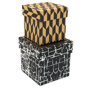 Nested Set of 2 Gift Boxes Black/Silver & Gold/Black WAS £7.25 NOW £4.25 -GBS46