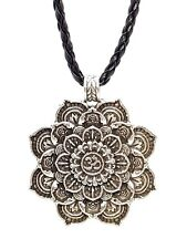Lotus Flower Mandala Om Aum Pendant Plaited Necklace Silver Plated Buddhist
