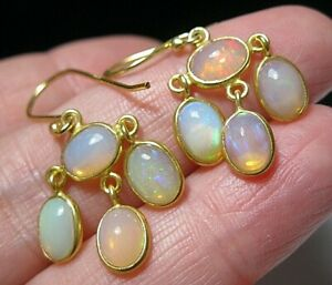 Sterling SILVER Real Fire Opal 8.57 cts Dangle Drop EARRINGS English Hallmarked