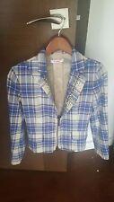 Blugirl Folies Blue Plaid Crystal Embellished Blazer/Jacket 40
