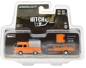 1:64 GreenLight *HITCH & TOW 11* Orange 1978 VW Pickup w/Utility Trailer *NIP*