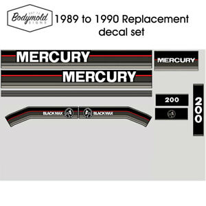 Mercury Outboard decals 1990 BLACKMAX 200hp