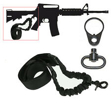 One Point Tactical Bungee Sling Strap w/ Rifle Adapter Plate & QD SWIVEL Mount