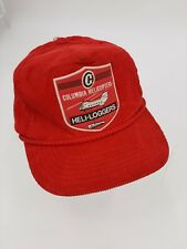 Vintage Columbia Helicopters Heli-Loggers Red Corduroy Hat Cap Snapback