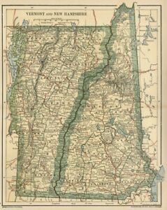 VERMONT & NEW HAMPSHIRE Map: Genuine 1891 Town County Railroads Area Population