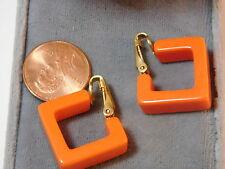 Vintage Tangerine Orange Plastic Square Hoop style Clip on Earrings 4b 11