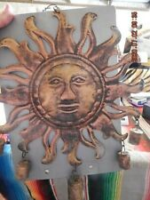 Brass sun wind chime with 5 brass bells.  Made in India