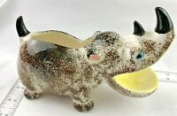 """VINTAGE 8"""" LONG MADE IN JAPAN RHINO / RHINOCEROS PLANTER WITH GREAT COLOR 2 HORN"""