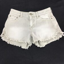 Free People Cut Off Jean Shorts Sz 24 with 27 inch Waist Taupe Fringe