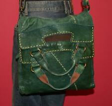 LUCKY BRAND Green Leather ABBEY ROAD Convertible Messenger Cross Body Purse Bag