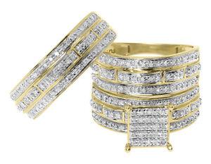10K Yellow Gold Mens Ladies Round Diamond Bridal Wedding Trio Ring Set 0.75 ct