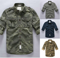 Slim Fit Mens Casual T-shirts Long Sleeve Multi Pockets Shirt camouflage Tops sz