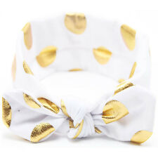 Baby Child Girl Glittery Gold Polka Dots Elastic Bow Headband Hair Head Band