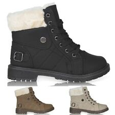 NEW WOMENS LADIES FAUX FUR LACE UP GRIP SOLE WINTER SNOW ANKLE BOOTS SIZE 3-8
