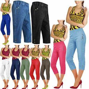 Ladies Cherry Berry Capri Cropped 3/4 Elasticated Summer Pants Trousers NEW UK