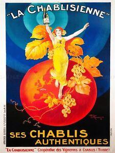 Advert Chablis Wine France Artistic Vintage Repro Picture Canvas Art Print