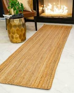 Rug Runner Natural Jute Handmade Braided style Reversible Living Area rag Rugs