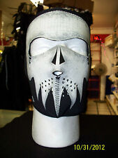 Biker Cold Weather Neoprene Full Face Mask- Grey Skull -Glow in the Dark