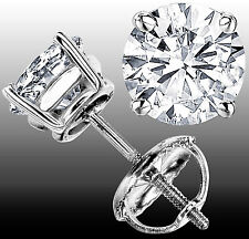 1.20 CT G-H VS  GENUINE ROUND DIAMOND STUD EARRINGS 14K WHITE GOLD 100% NATURAL