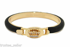 NWT Juicy Couture Gold Signature Leather Paved Crown Fashion Bangle Bracelet