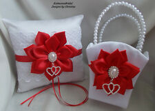 Flower Girl Basket And Ring Bearer Pillow Set Handmade Red Satin Flower Rhinest
