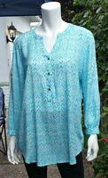 Grand & Greene Women's Blue Blouse Top Tunic 3/4 Sleeve Size L