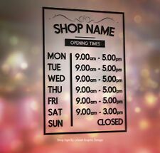Opening Hours Any colour Times Personalised Window Shop Vinyl Decal Sticker