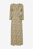 NEXT Ochre Ditsy Floral Print Wrap Midi Tea Dress Size 14 NWT Holiday Party Work