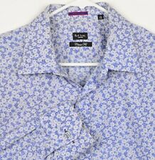 Paul Smith London Men's Sz 16.5/42 XL Floral Blue White Made in Italy Shirt