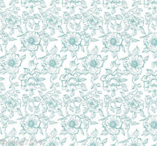 Blue Green Teal Toile White Floral Flower Vine Vinyl Contact Paper Drawer Liner