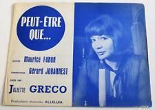 Partition vintage sheet music JULIETTE GRECO : Peut-Etre Que... * 60's FANON