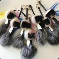 "8"" Lafayette Real Fox Mink Fur Monster BAG BUG Karl Charm Car Keychain Pendant"
